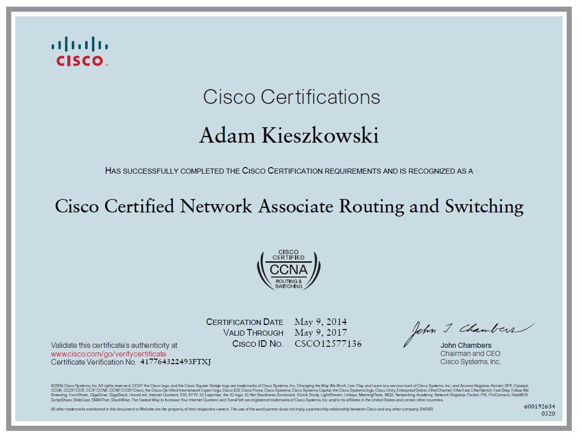 Cisco Certified Network Associate (CCNA) Routing and Switching - Adam Kieszkowski