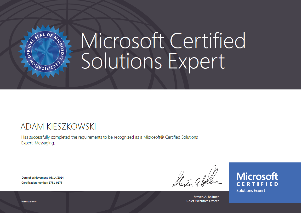 Microsoft Certified Solutions Expert: Messaging Exchange Server - Adam Kieszkowski