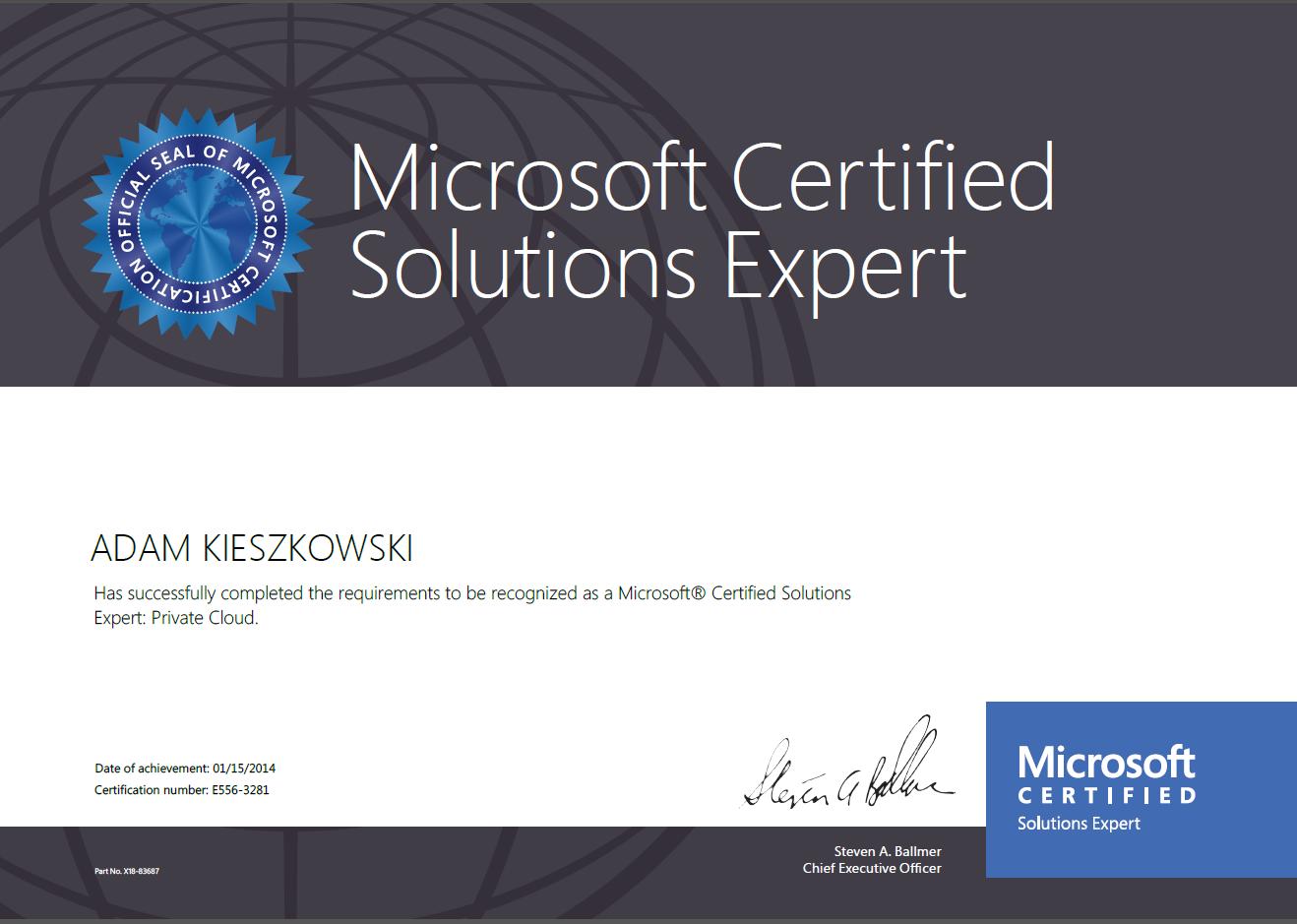 Microsoft Certified Solutions Expert: Private Cloud 2012 - Adam Kieszkowski