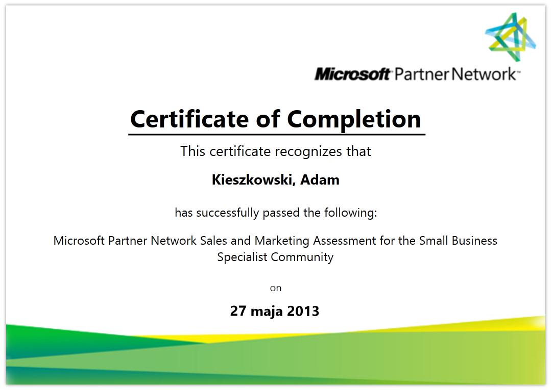 Certyfikaty adq microsoft partner network sales and marketing assessment fot the small business specialist comunity adam kieszkowski xflitez Images